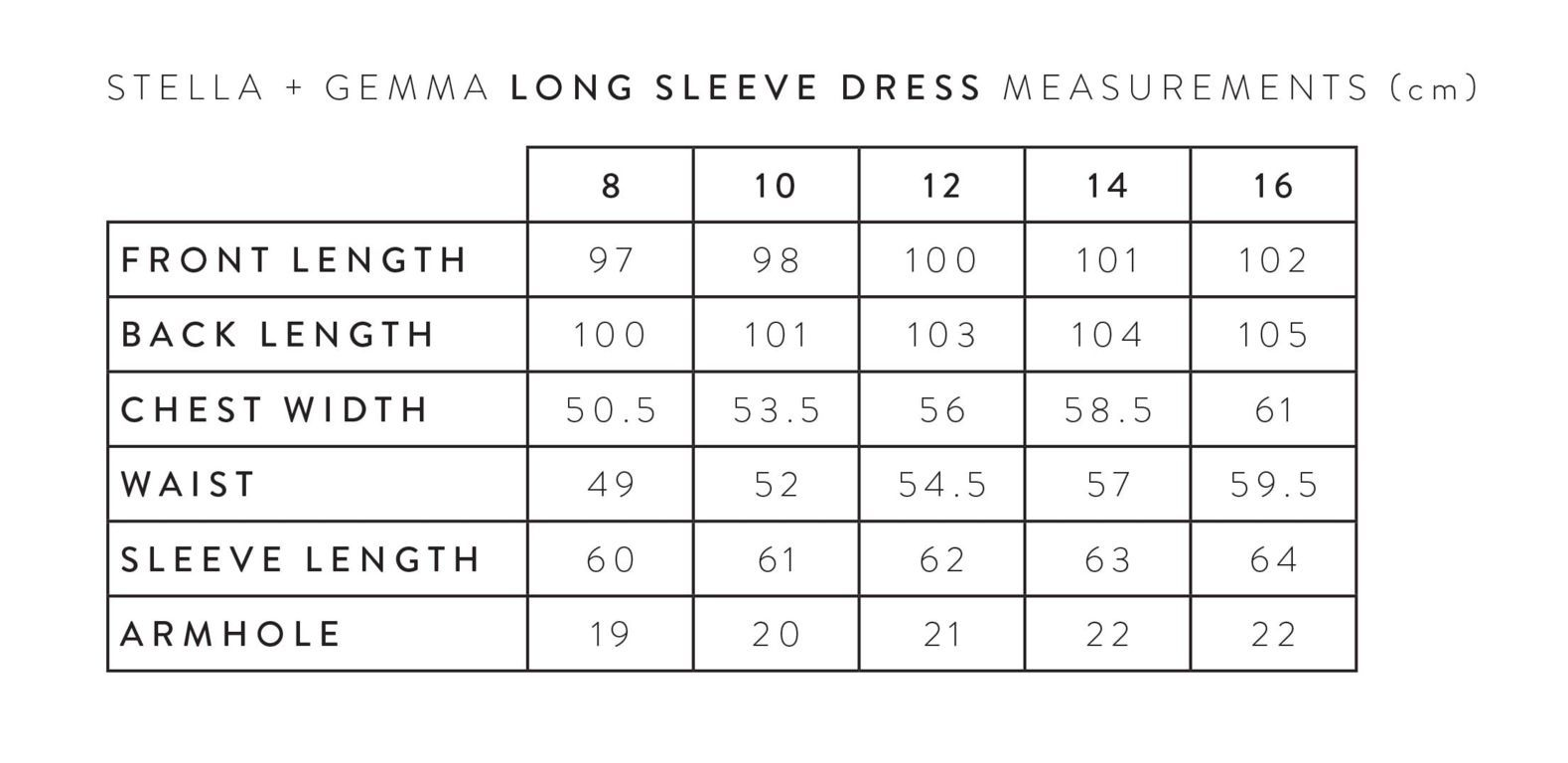 S+G LONG SLEEVE DRESS MEASUREMENTS